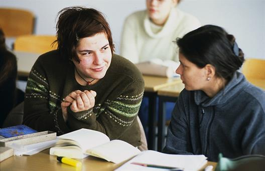 Two students talking in a course with books