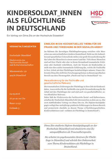 The event's information flyer ist pictured her. It contains the informationtext an a picture of a child about primary-school-age, walking barefoot along a dusty road, carrying a gun on the back.