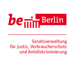 "The logo is divided into two parts, separated by a narrow horizontal line. In the upper part on the left side, ""be"" is written in italics and bold, next to it a simplified representation of the Brandenburg Gate, reduced to 6 vertical lines and a horizontal top line. On top of it a dot. To the right of it is a rectangular red box with 'Berlin' in narrower type. Below the line is written 'Senate Administration for Justice, Consumer Protection and Anti-Discrimination', left-aligned in red letters."