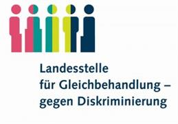The logo of the Landesstelle für Gleichbehandlung - gegen Diskriminierung shows 5 pictograms of persons in the upper left corner. The very left head is pink, just like the body, which 'slides' a bit to the left in the half. The second head is divided in the middle pink/turquoise, as well as the corresponding body, which gets wider with a step down. The third body in pink/light green is completely straight, the next one is light green/dark blue and becomes narrower towards the bottom, as if two arms are visible at the sides. The last pictogram is completely dark blue and has a step to the left, relatively far down.  Below the pictograms, the name of the country is left-aligned, indented by about a third.