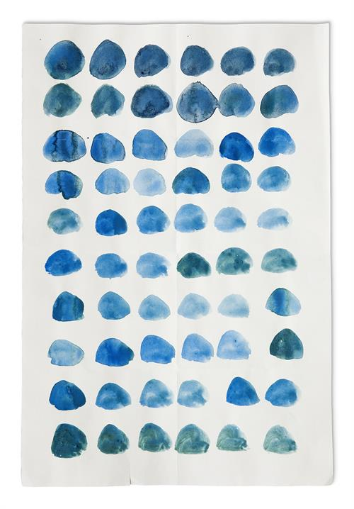 Art works of Maria Schleiner, blue points on a paper
