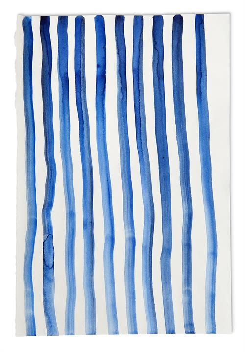 Art of  Maria Schleiner, blue lines on paper