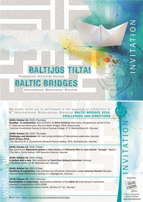 "Exhibition Invitation of the  International Watercolour Binnial ""Baltic Bridges"" in Lithuania with Maria Schleiner"
