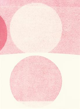 graphical process, two circles among each other in rose and beige