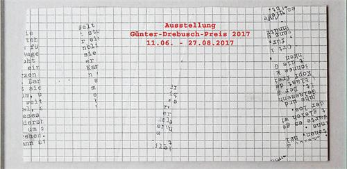 "Invitation card of the exhibition and art winner of the  ""Günter-Drebusch-Preis"" Denise Winter"